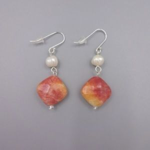 Sterling Pearl and Orange Stone Earrings